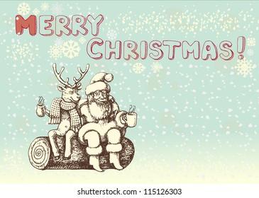 Santa Claus and reindeer taking a coffee break