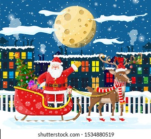Santa claus rides reindeer sleigh. Christmas winter cityscape, snowflakes, buildings. Happy new year decoration. Merry christmas holiday. New year and xmas celebration. illustration flat style