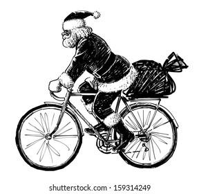 Santa Claus riding a bicycle