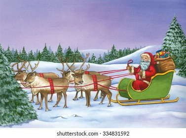 Santa Claus riding on sleigh with reindeers on Christmas Day. Watercolor Christmas hand drawn painting.