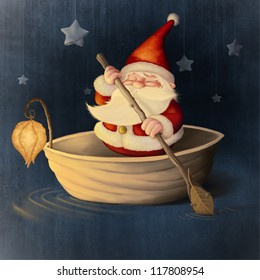 Santa Claus rows in a walnut shell