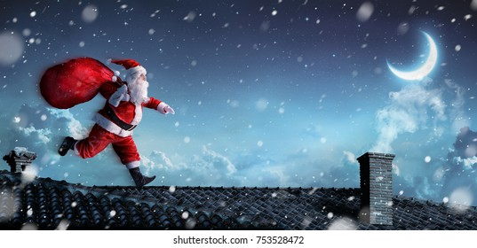 Santa Claus Running On The Rooftops - 3d illustration