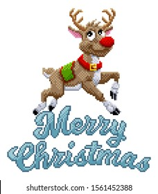 Santa Claus s reindeer and Merry Christmas message in pixel Art 8 bit video game style