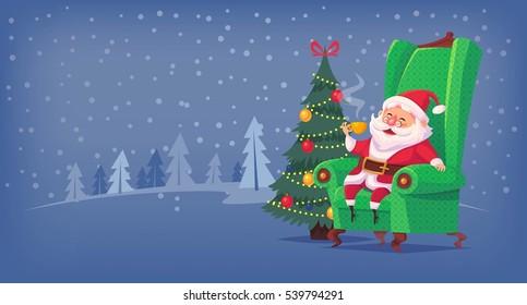 Santa Claus sitting in chair drinking tea Merry Christmas cartoon illustration