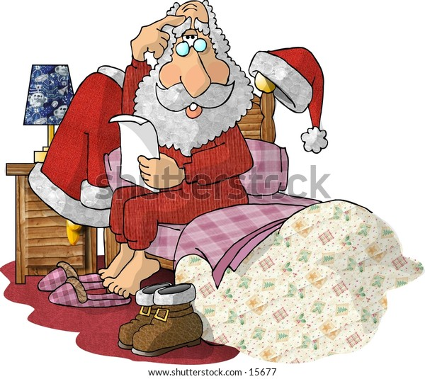Santa Claus sitting on his bed reading a note.
