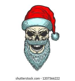 Santa Claus skull on white background. Christmas theme. Design element for emblem, poster, t shirt.