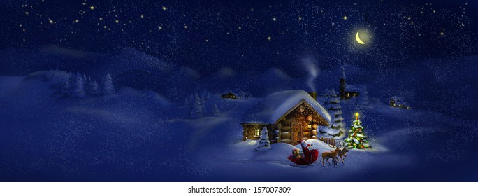 Santa Claus with sledge, presents and deers by log cabin with Christmas tree, scenic village panorama. Copy space, illustration - Shutterstock ID 157007309