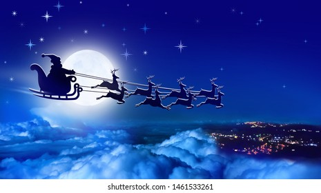 Santa Claus in a sleigh and reindeer sled flies over Earth on background of full moon in night sky