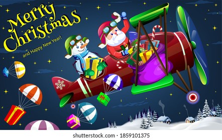 Santa Claus and Snowman fly on a plane on Christmas night and parachute gifts for children