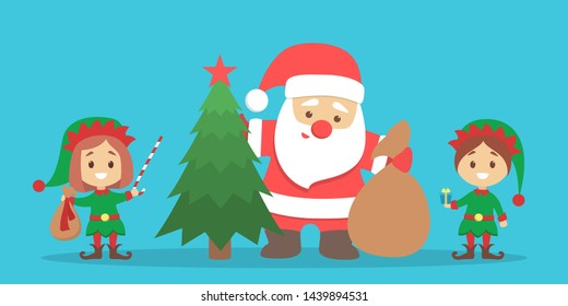 Santa Claus standing with bag full of gift boxes and little elf helpers. Christmas tree for holiday celebration. Flat illustration