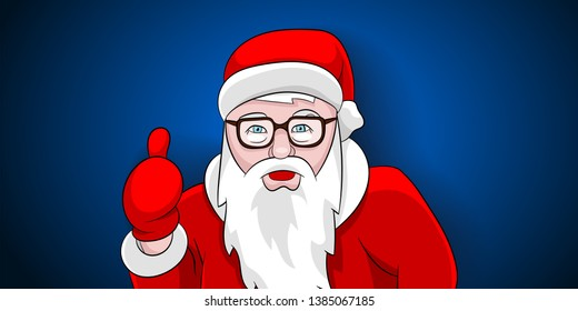 Santa claus thumbs up portrait on blue background.