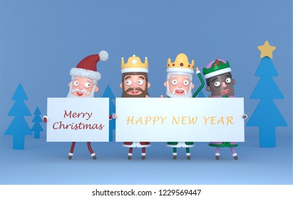 Santa Claus  and Tree Magic Kings  holding a placard with Greetings.3d illustration