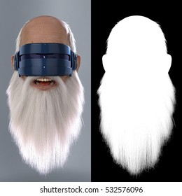 Santa Claus tries Virtual Reality : 3D Render Illustration with alpha map for easy editing and isolation.