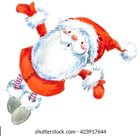 Santa Clause. New Year Greeting Card. Christmas watercolor background.