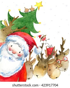 Santa Clause and reindeer. New Year Greeting Card. Christmas watercolor background.