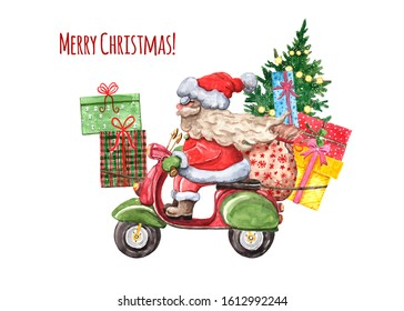 Santa Clause is riding a scooter Christmas illustration. Watercolor Santa on vintage motorcycle with gift boxes and festive fir tree, isolated on white background. Holiday cartoon style card.