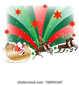 Santa Clause riding in a slade with reindeers, background green and red with stars