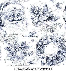 Santa Clause seamless pattern. New Year retro background. Christmas illustration.