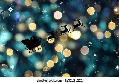 Santa clause sleigh flying with bokeh night background, Christmas theme