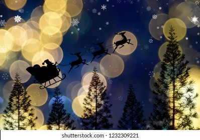Santa clause sleigh flying over pine tree with nice bokeh light sky, Christmas theme