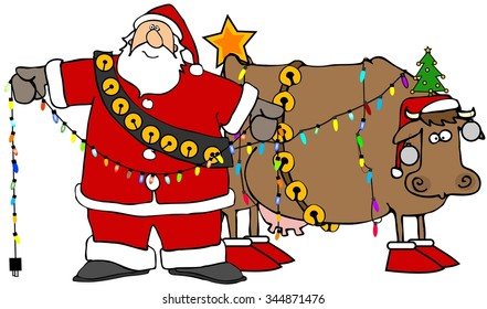 Santa decorating his christmas cow