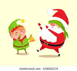 Santa and elf cartoon characters playing hide-and-seek, little helper call Father Christmas by golden bell, raster illustration poster isolated on white