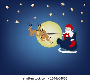 Santa is going out to give presents late at Christmas and has a beautiful yellow moon.