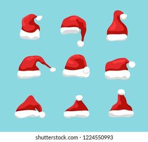 Santa hat christmas design. New Year santa claus hat design for holiday celebration.