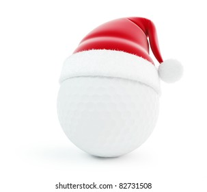 santa hat golf ball isolated on a white background