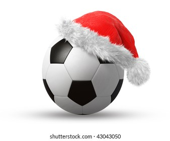 santa hat on a soccer ball isolated on white background