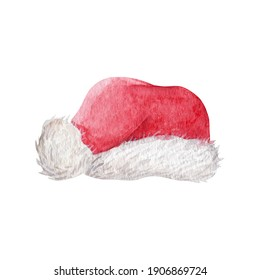 Santa hat watercolor illustration isolated on white background. Hand painted christmas clip-art for your design.