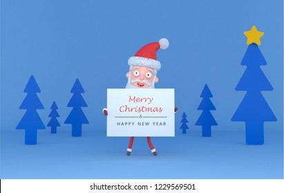 Santa holding a placar with Greetings on a tree blue scene.3d illustration