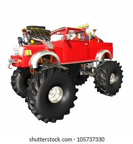 Santa Monster Truck: Santa delivering gifts in a red and silver monster truck. Over white.