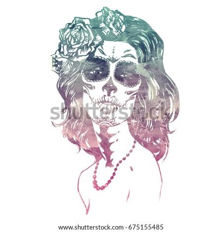 Royalty Free Stock Illustration Of Santa Muerte Girl Make Sugar