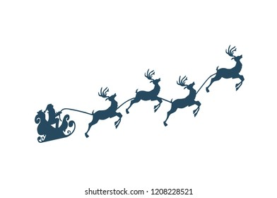 Santa on Sleigh with His Reindeers Isolated
