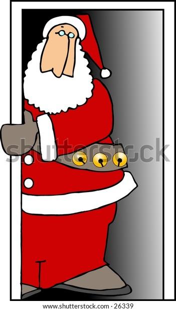 Santa peering out of an open doorway
