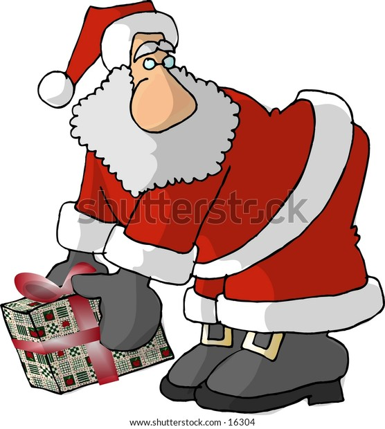 Santa picking up a package