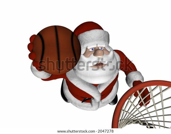 Santa Playing Basketball.  Jumping up to make a basket.