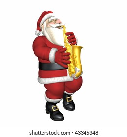 Santa playing the saxophone.  Isolated.