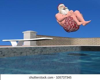 Santa Pool: Santa Claus in mid air doing a cannonball dive.