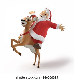 Santa and reindeer, 3d image with work path
