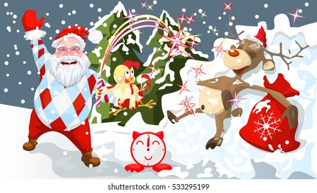 santa with reindeer new years card a festive screensaver christmas poster an