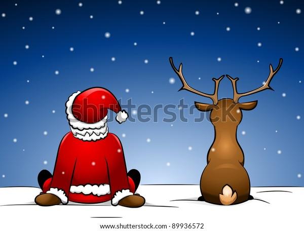 santa-reindeer-sitting-snow-600w-8993657