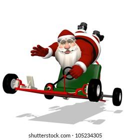 Santa Runaway Go Kart: Santa hanging on to a runaway go kart as it speeds away.