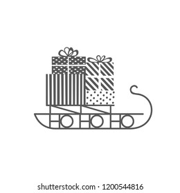 Santa Sleigh icon. Christmas snow sledge with gifts present boxes. Flat monochrome simple minimal style. Design element for winter holiday season new year event illustration
