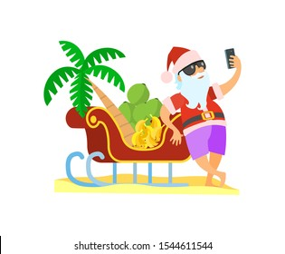 Santa standing near sleigh with palmtree and bananas and shooting yhimself in glasses and red hat. Christmas raster image in flat style isolated on white