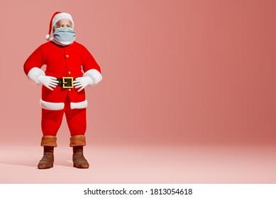 Santa Wearing medical Mask Christmas Covid-19 Social Distancing Quarantine Greeting. 3D Illustration