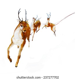 Santa's Reindeer. Christmas Reindeer. Digital illustration Christmas Reindeer, journey across the sky. Realistic painting. Isolated background.