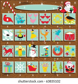 Santa's Retro Advent Calendar on a woodgrain background.  Includes the 12 days of Christmas