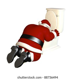 Santa's sick from too much eggnog.  Santa partied a bit too hard and is sick in front of a toilet.  Bah Humbug. Isolated on a white background.
